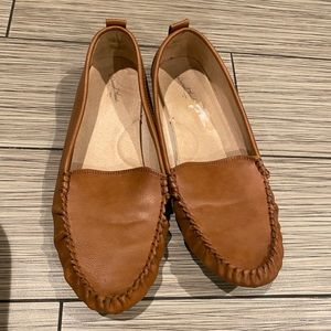 Tan penny loafers
